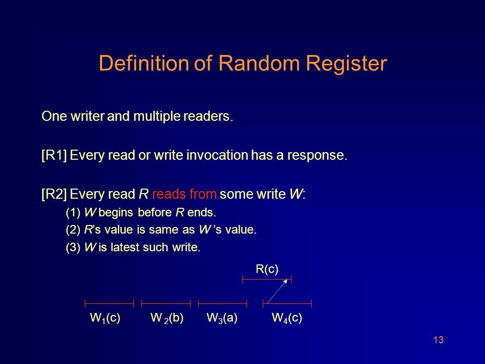13 Definition of Random Register One writer and multiple readers.