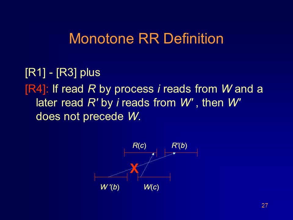 27 Monotone RR Definition [R1] - [R3] plus [R4]: If read R by process i reads from W and a later read R by i reads from W , then W does not precede W.