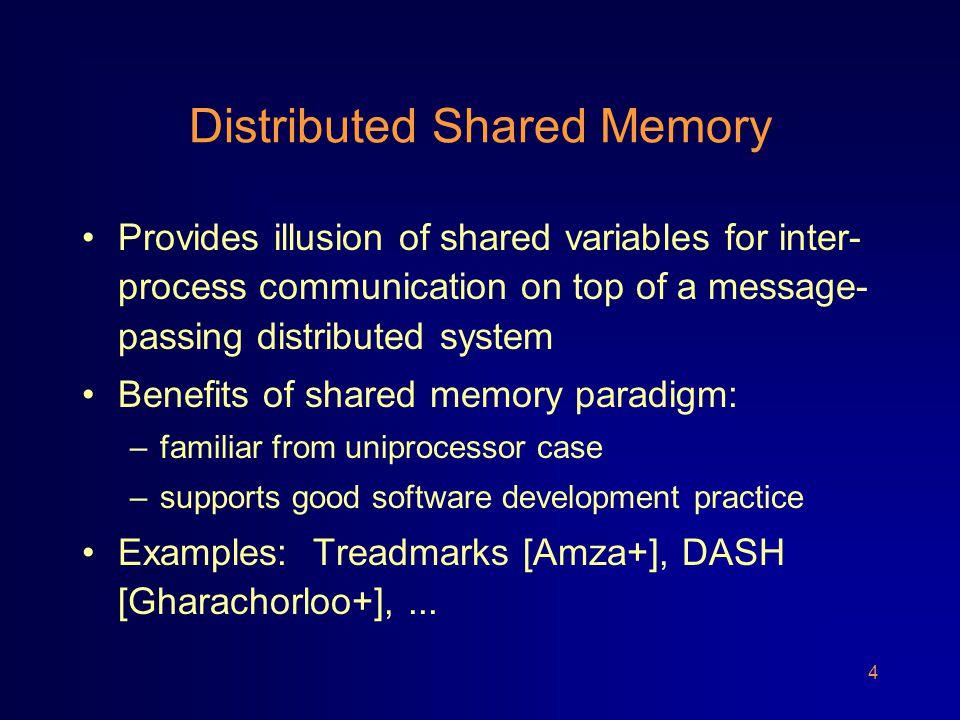 5 Distributed Shared Memory app proc 1 client 1 server 1 server n client r app proc r network send recv send recv write(X,3)ack(X) read(Y)return(Y,5) Implements shared variables X, Y, Z,...