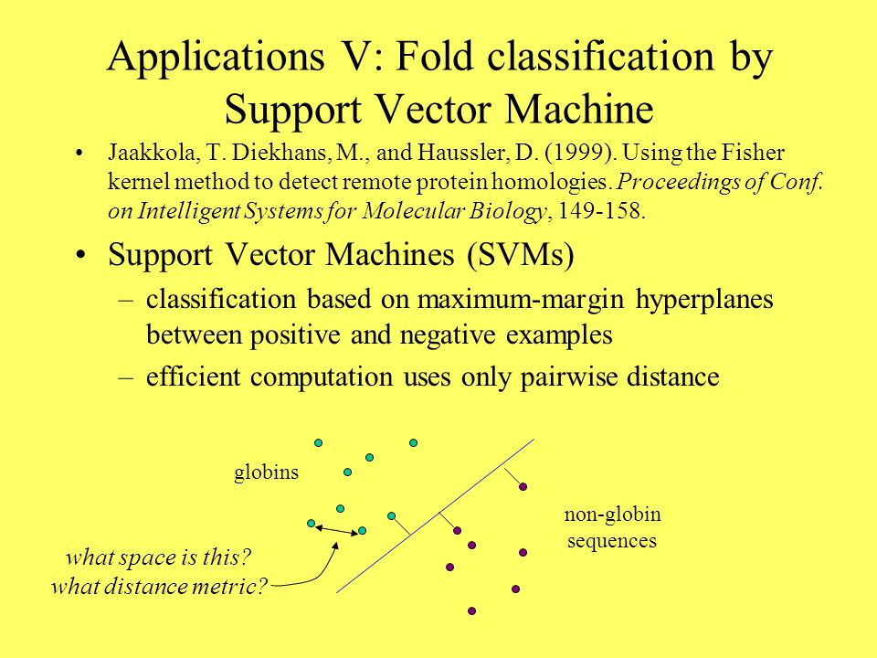 Applications V: Fold classification by Support Vector Machine Jaakkola, T.