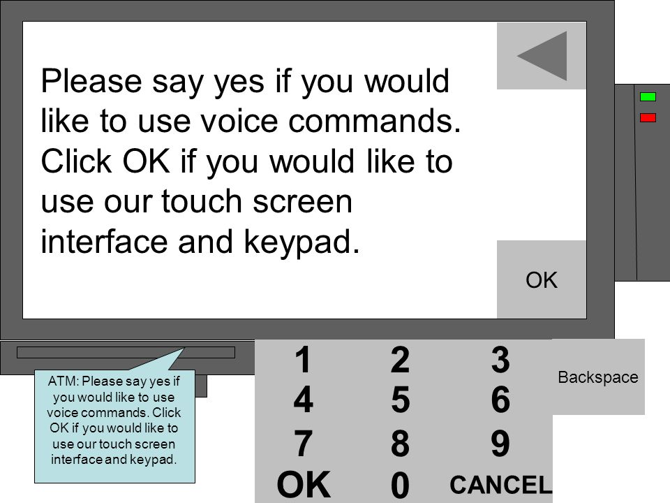 12 54 87 0 OK 12 54 87 0 12 3 6 54 9 87 CANCEL 0 OK Backspace Please say yes if you would like to use voice commands.