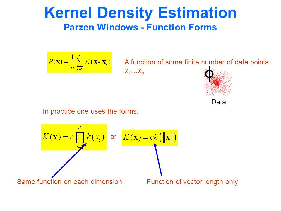 Kernel Density Estimation Parzen Windows - Function Forms A function of some finite number of data points x 1 …x n Data In practice one uses the forms: or Same function on each dimensionFunction of vector length only