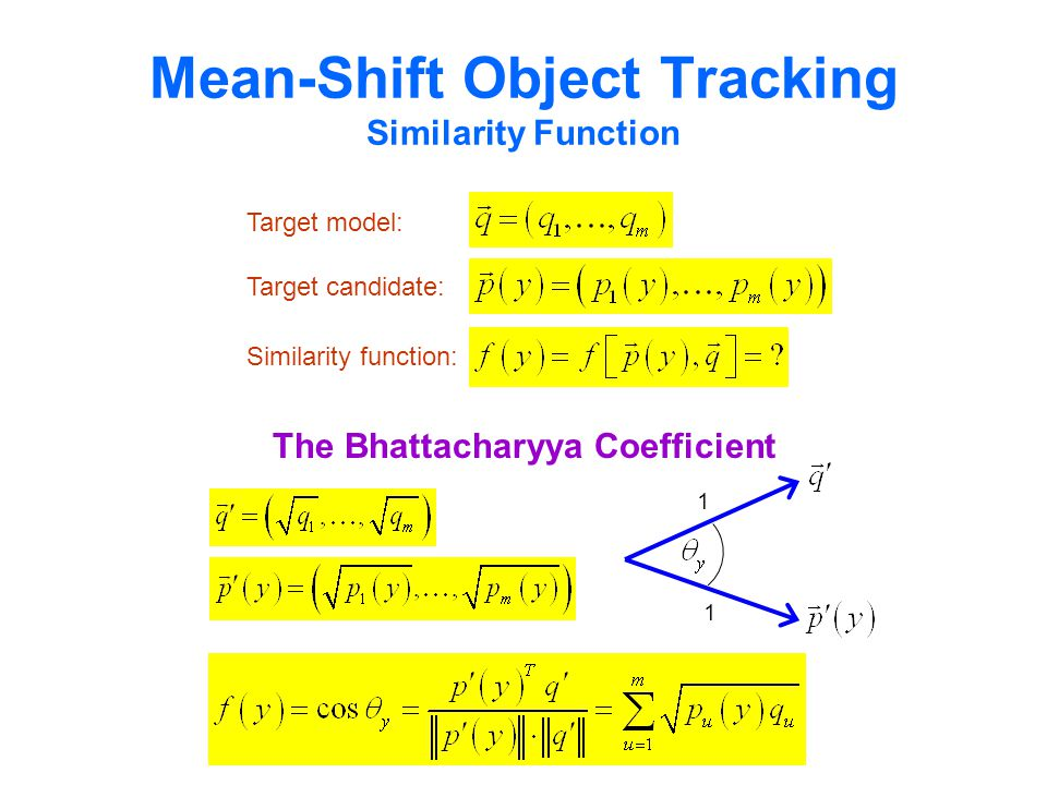 Mean-Shift Object Tracking Similarity Function Target model: Target candidate: Similarity function: 1 1 The Bhattacharyya Coefficient