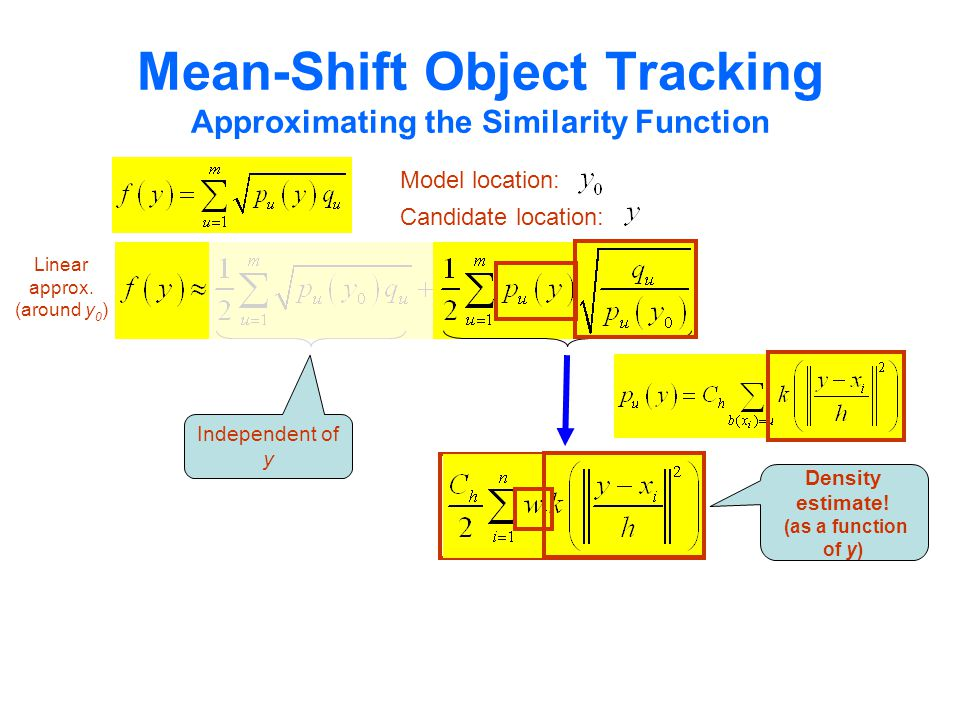 Linear approx. (around y 0 ) Mean-Shift Object Tracking Approximating the Similarity Function Model location: Candidate location: Independent of y Den