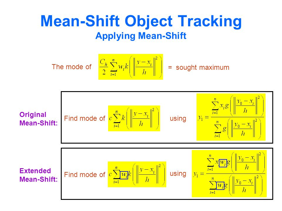 Mean-Shift Object Tracking Applying Mean-Shift Original Mean-Shift: Find mode ofusing The mode of = sought maximum Extended Mean-Shift: Find mode of using