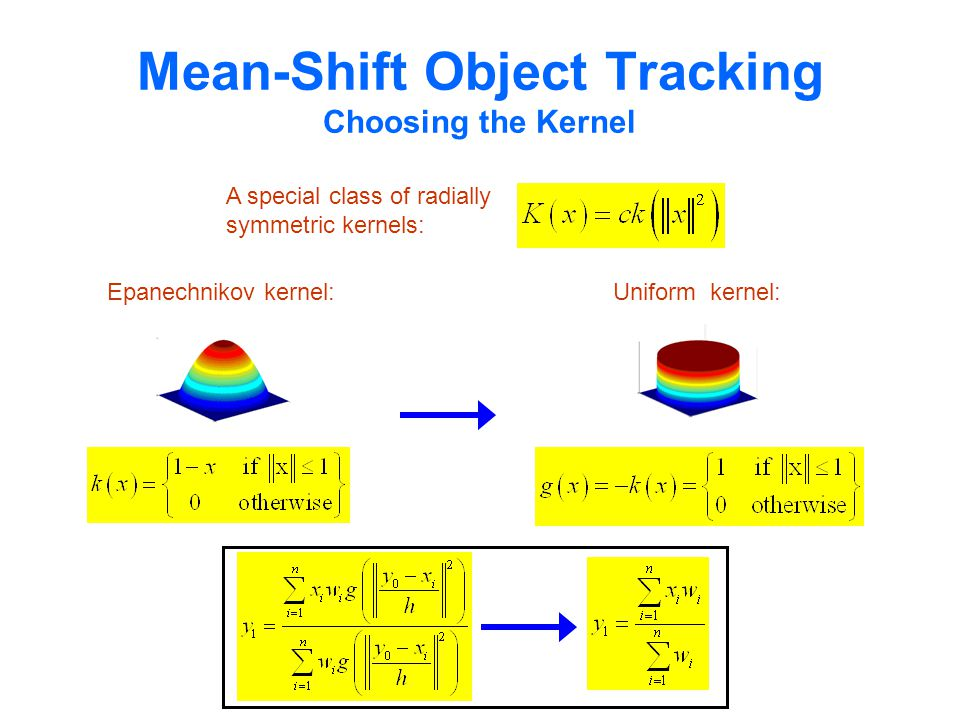 Mean-Shift Object Tracking Choosing the Kernel Epanechnikov kernel: A special class of radially symmetric kernels: Extended Mean-Shift: Uniform kernel: