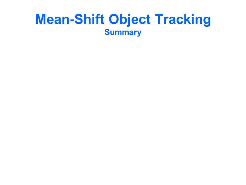 Mean-Shift Object Tracking Summary