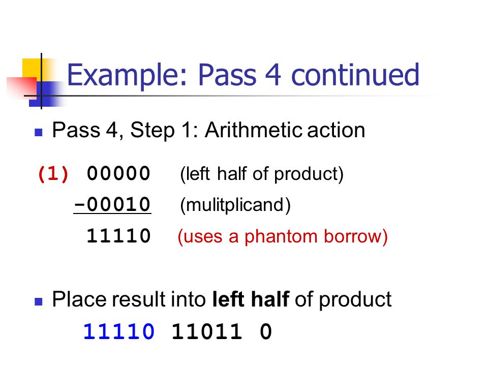 Example: Pass 4 continued Pass 4, Step 1: Arithmetic action (1) 00000 (left half of product) -00010 (mulitplicand) 11110 (uses a phantom borrow) Place