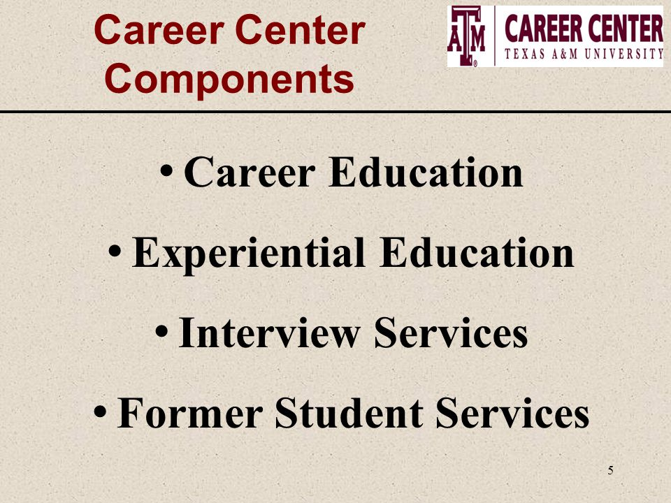 5 Career Center Components Career Education Experiential Education Interview Services Former Student Services