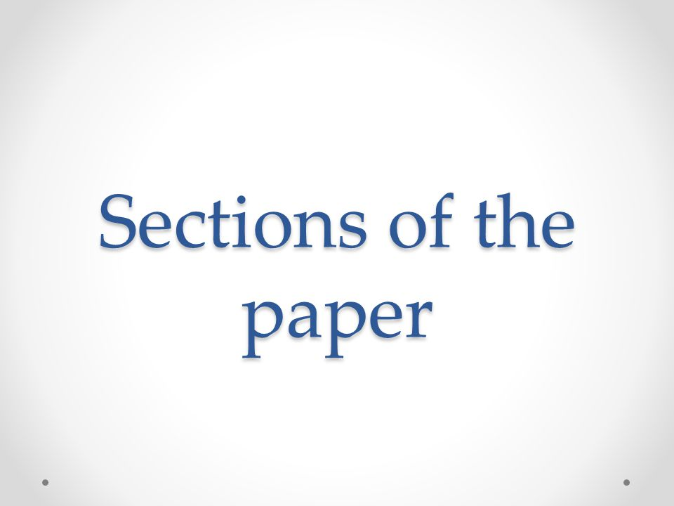 Sections of the paper