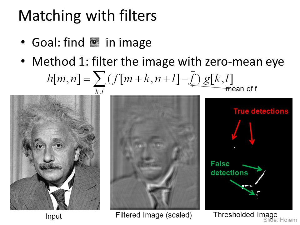 Slide: Hoiem Matching with filters Goal: find in image Method 1: filter the image with zero-mean eye Input Filtered Image (scaled) Thresholded Image True detections False detections mean of f