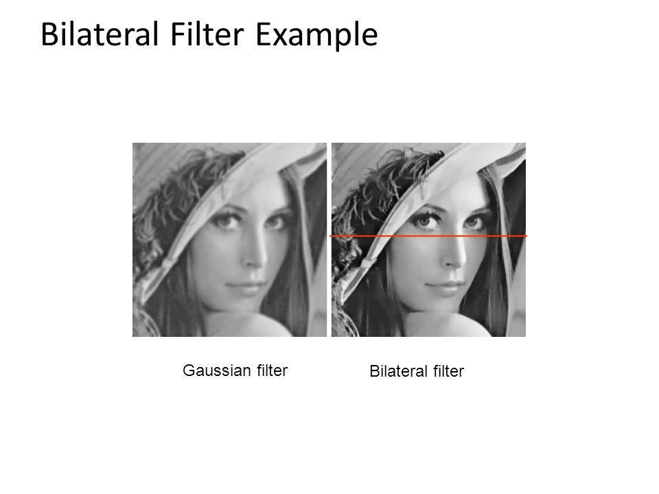 Bilateral Filter Example Gaussian filter Bilateral filter