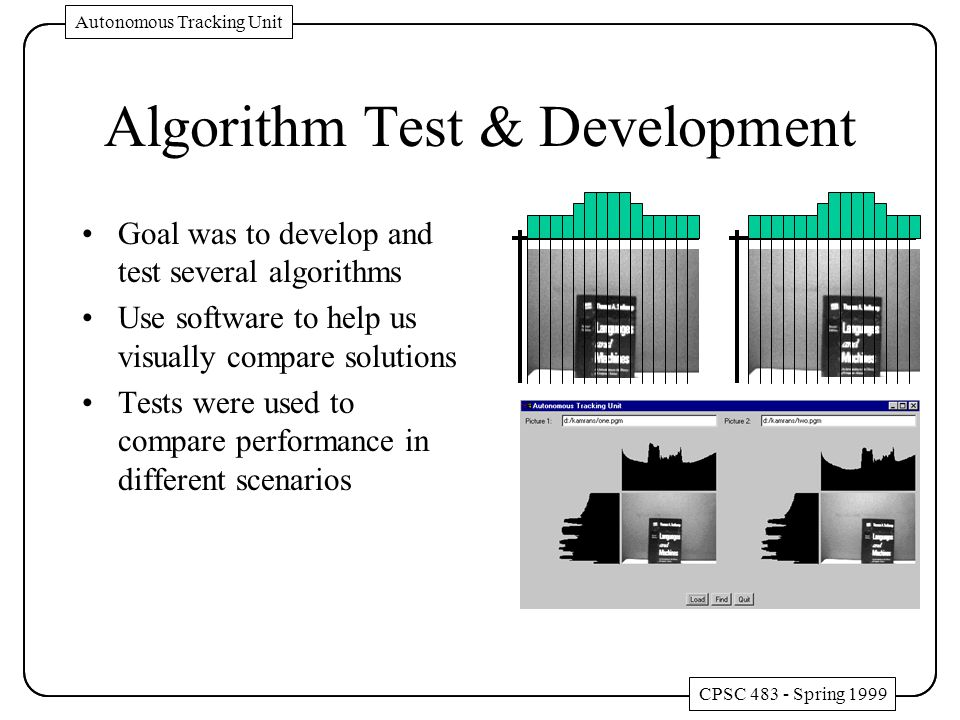 Algorithm Test & Development Goal was to develop and test several algorithms Use software to help us visually compare solutions Tests were used to compare performance in different scenarios CPSC 483 - Spring 1999 Autonomous Tracking Unit CPSC 483 - Spring 1999 Autonomous Tracking Unit