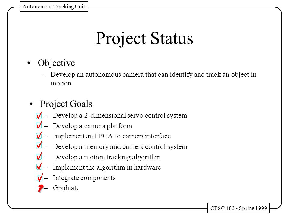 Project Goals –Develop a 2-dimensional servo control system –Develop a camera platform –Implement an FPGA to camera interface –Develop a memory and ca