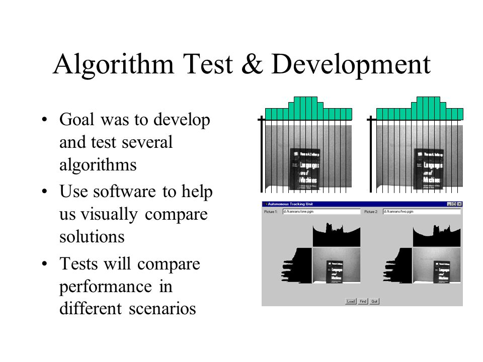 Algorithm Test & Development Goal was to develop and test several algorithms Use software to help us visually compare solutions Tests will compare performance in different scenarios
