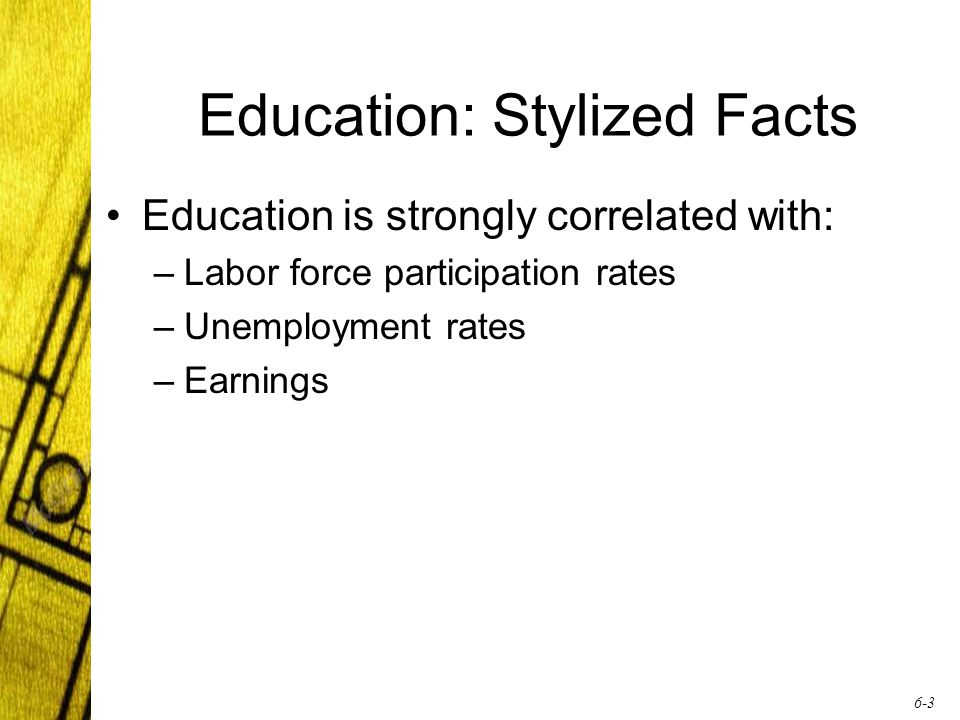 6-3 Education: Stylized Facts Education is strongly correlated with: –Labor force participation rates –Unemployment rates –Earnings