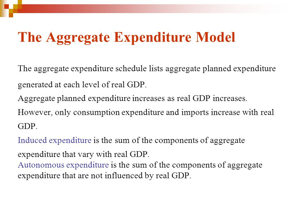 The Aggregate Expenditure Model The aggregate expenditure schedule lists aggregate planned expenditure generated at each level of real GDP. Aggregate