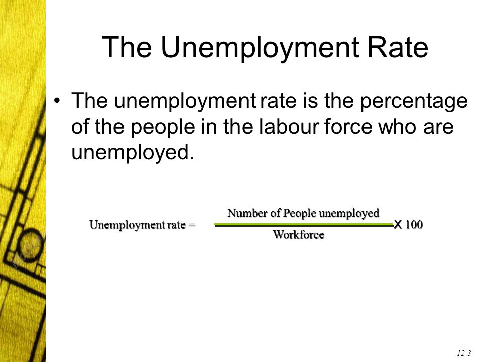 12-3 The Unemployment Rate The unemployment rate is the percentage of the people in the labour force who are unemployed. Unemployment rate = X 100 Num