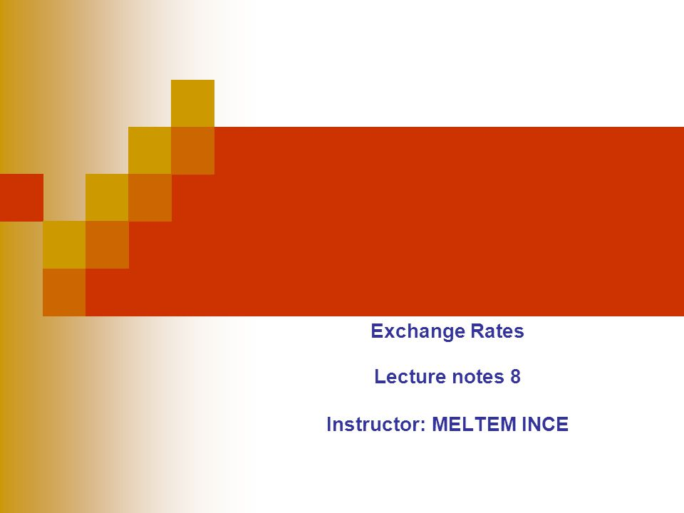 Exchange Rates Lecture notes 8 Instructor: MELTEM INCE