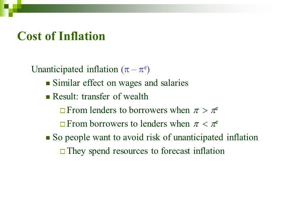 Cost of Inflation Unanticipated inflation (  –  e ) Similar effect on wages and salaries Result: transfer of wealth  From lenders to borrowers when    e  From borrowers to lenders when    e So people want to avoid risk of unanticipated inflation  They spend resources to forecast inflation