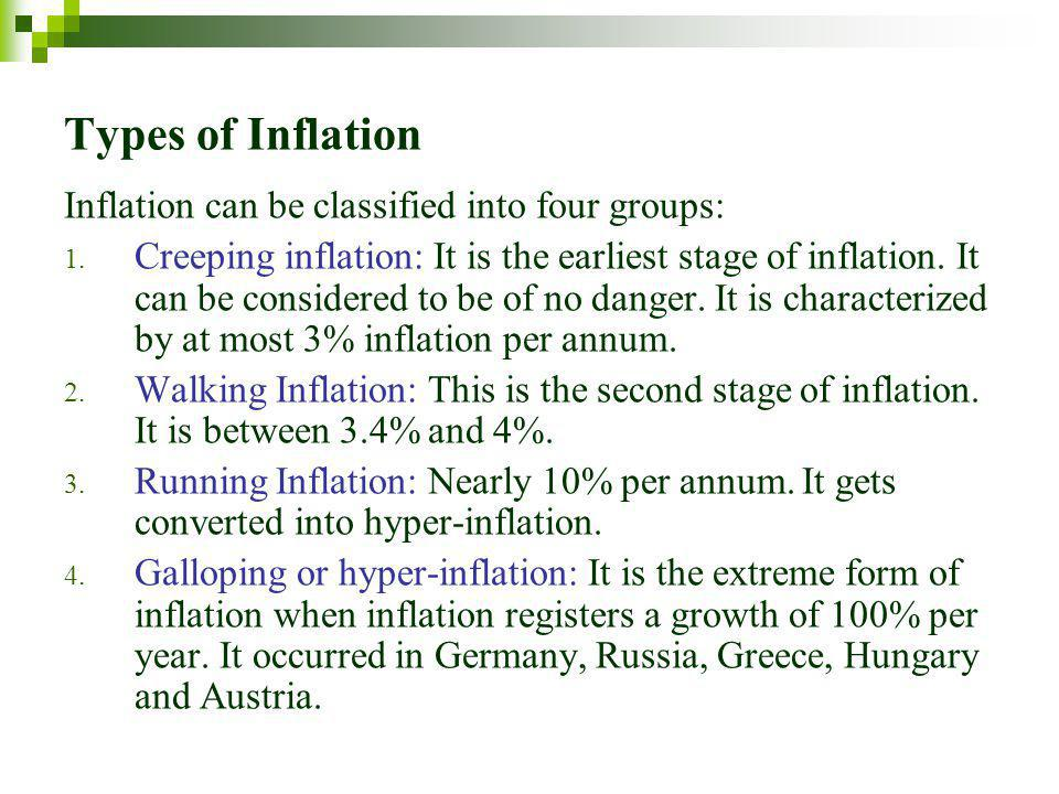 Types of Inflation Inflation can be classified into four groups: 1.