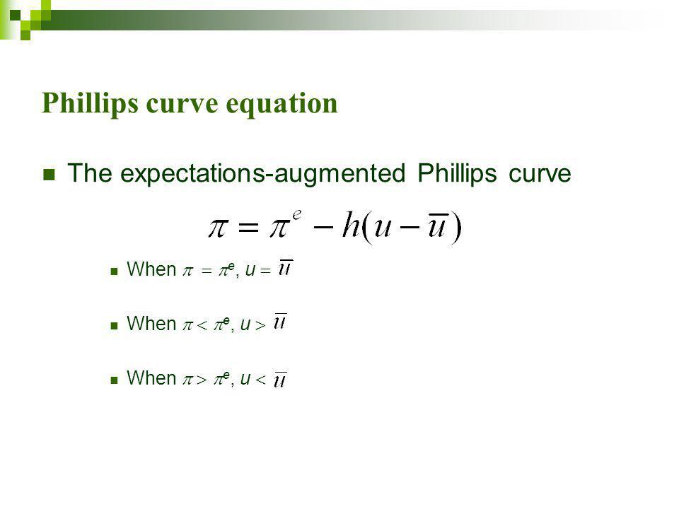 Phillips curve equation The expectations-augmented Phillips curve When    e, u  When    e, u  When    e, u 