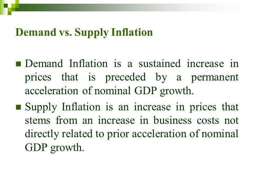 Demand vs. Supply Inflation Demand Inflation is a sustained increase in prices that is preceded by a permanent acceleration of nominal GDP growth. Sup