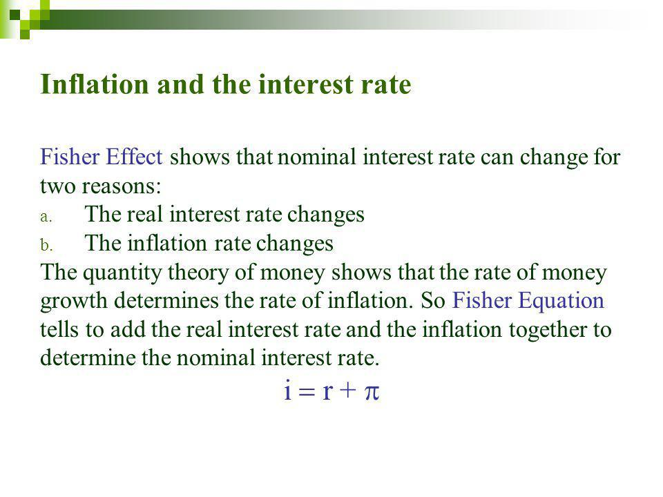 Inflation and the interest rate Fisher Effect shows that nominal interest rate can change for two reasons: a.
