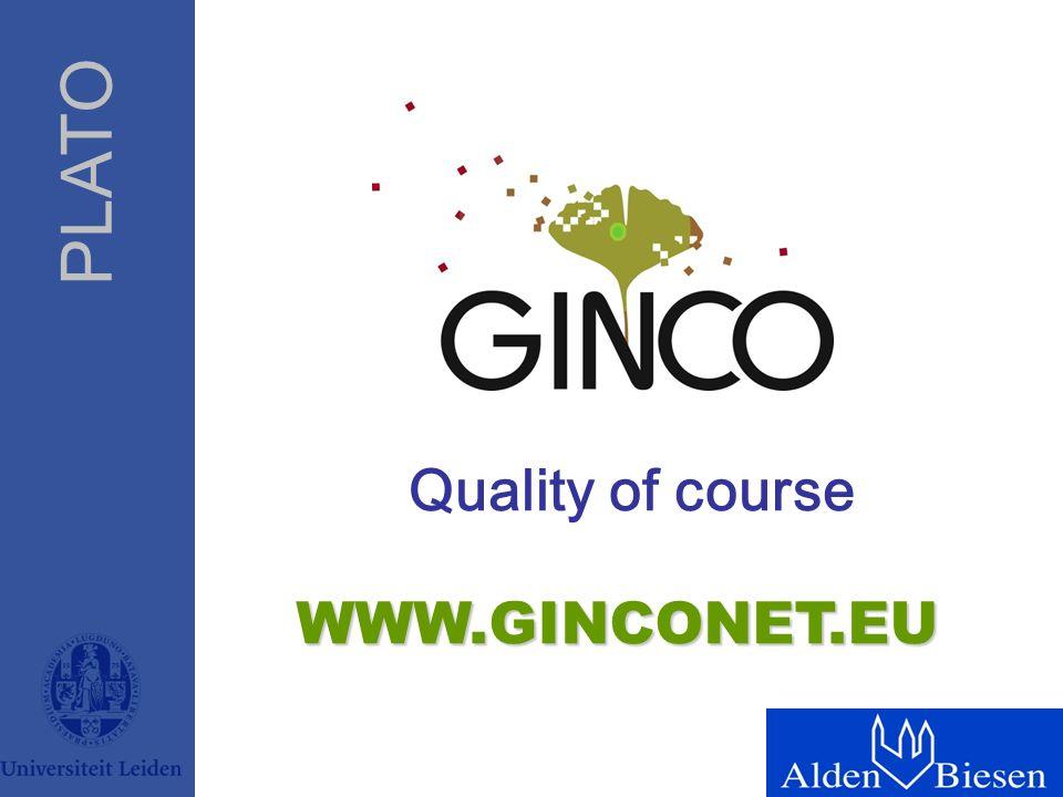 PLATO WWW.GINCONET.EU Quality of course
