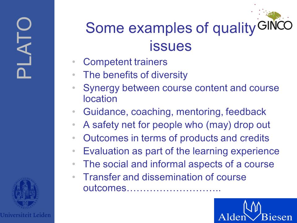 PLATO Some examples of quality issues Competent trainers The benefits of diversity Synergy between course content and course location Guidance, coachi