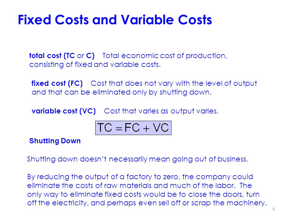 4 Fixed Costs and Variable Costs total cost (TC or C) Total economic cost of production, consisting of fixed and variable costs.