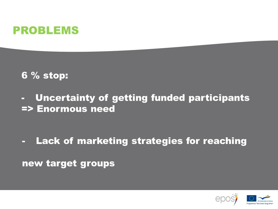 6 % stop: -Uncertainty of getting funded participants => Enormous need PROBLEMS -Lack of marketing strategies for reaching new target groups