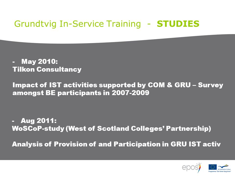 Grundtvig In-Service Training - STUDIES -Aug 2011: WoSCoP-study (West of Scotland Colleges' Partnership) Analysis of Provision of and Participation in
