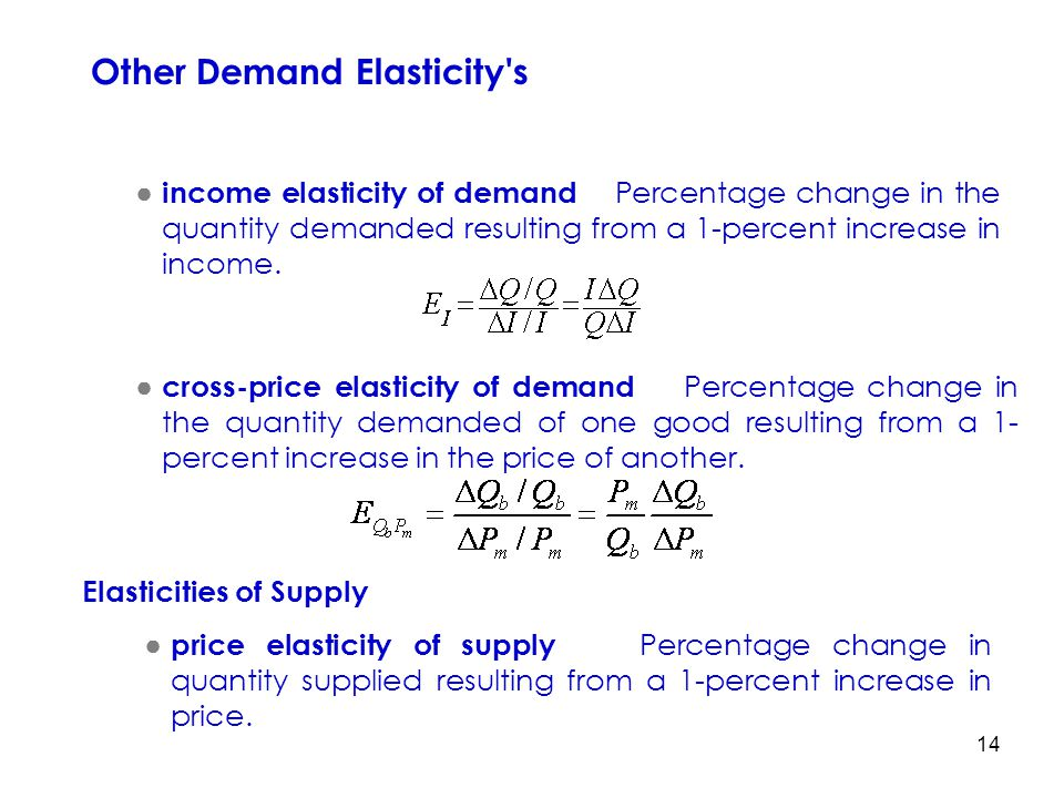 14 ● income elasticity of demand Percentage change in the quantity demanded resulting from a 1-percent increase in income. Other Demand Elasticity's ●