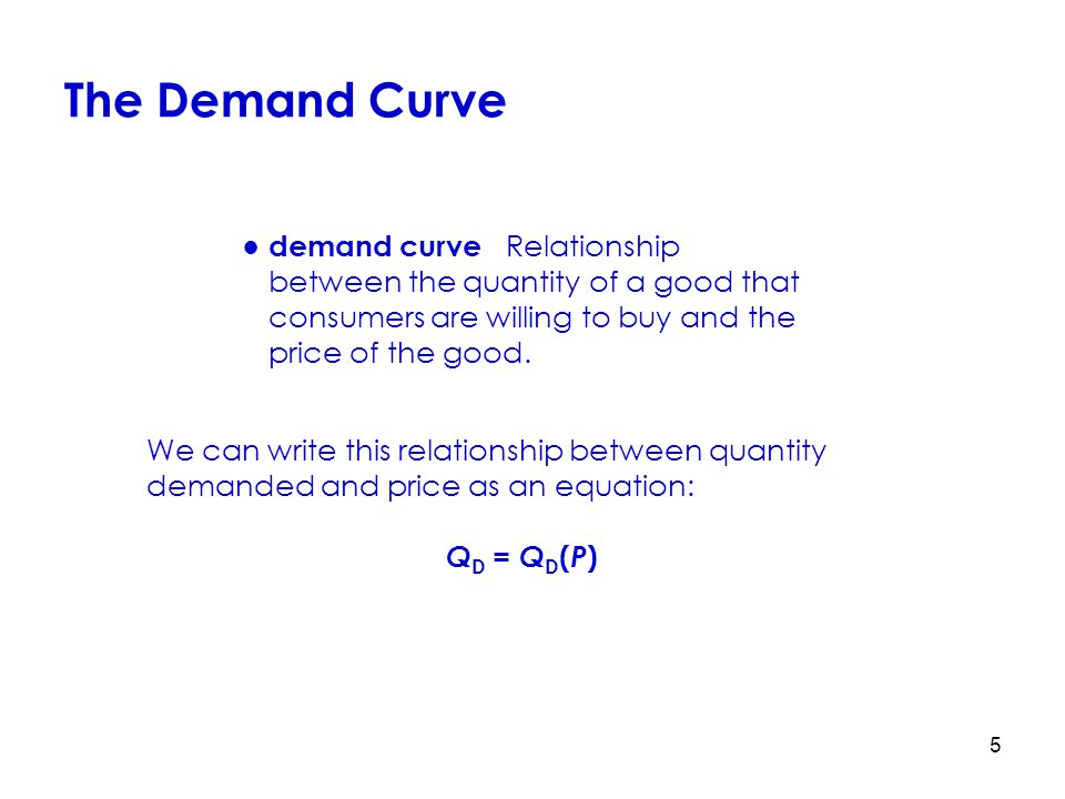 5 We can write this relationship between quantity demanded and price as an equation: Q D = Q D ( P ) ●demand curve Relationship between the quantity o