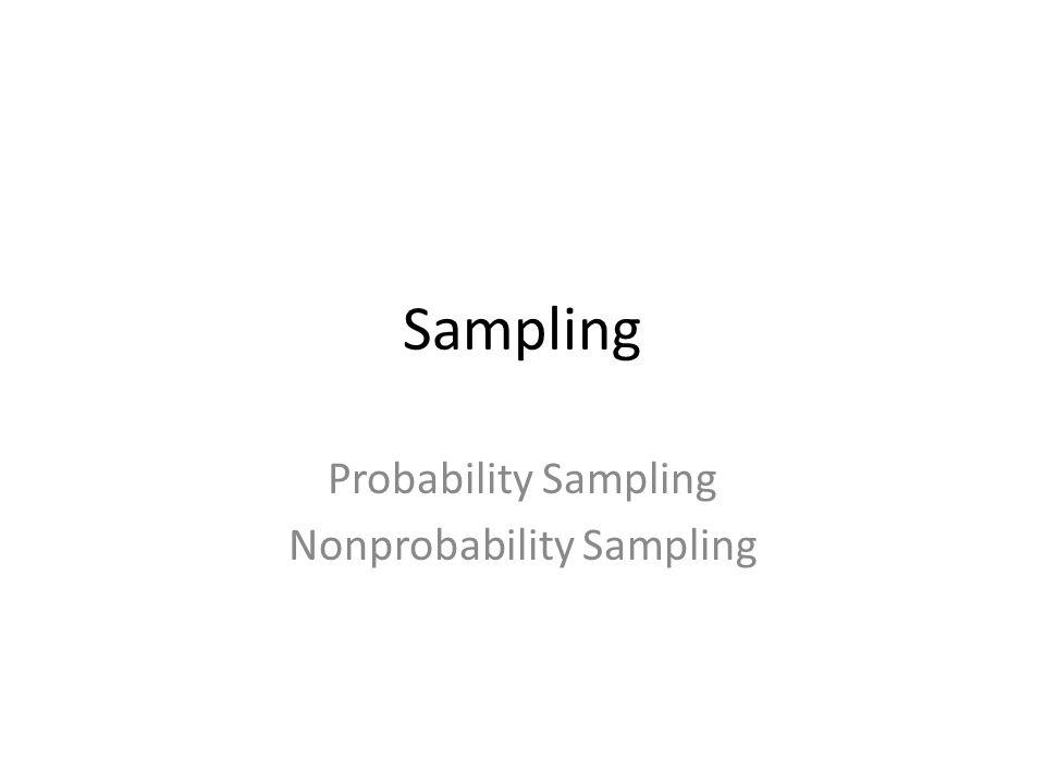 Sampling Probability Sampling Nonprobability Sampling