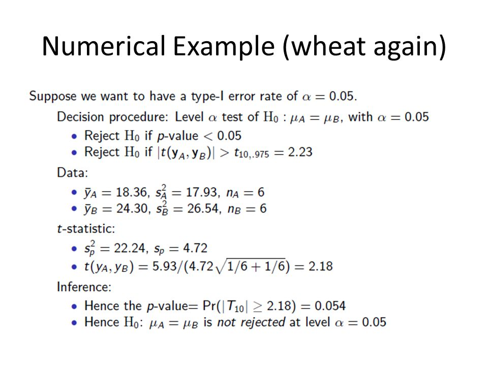 Numerical Example (wheat again)