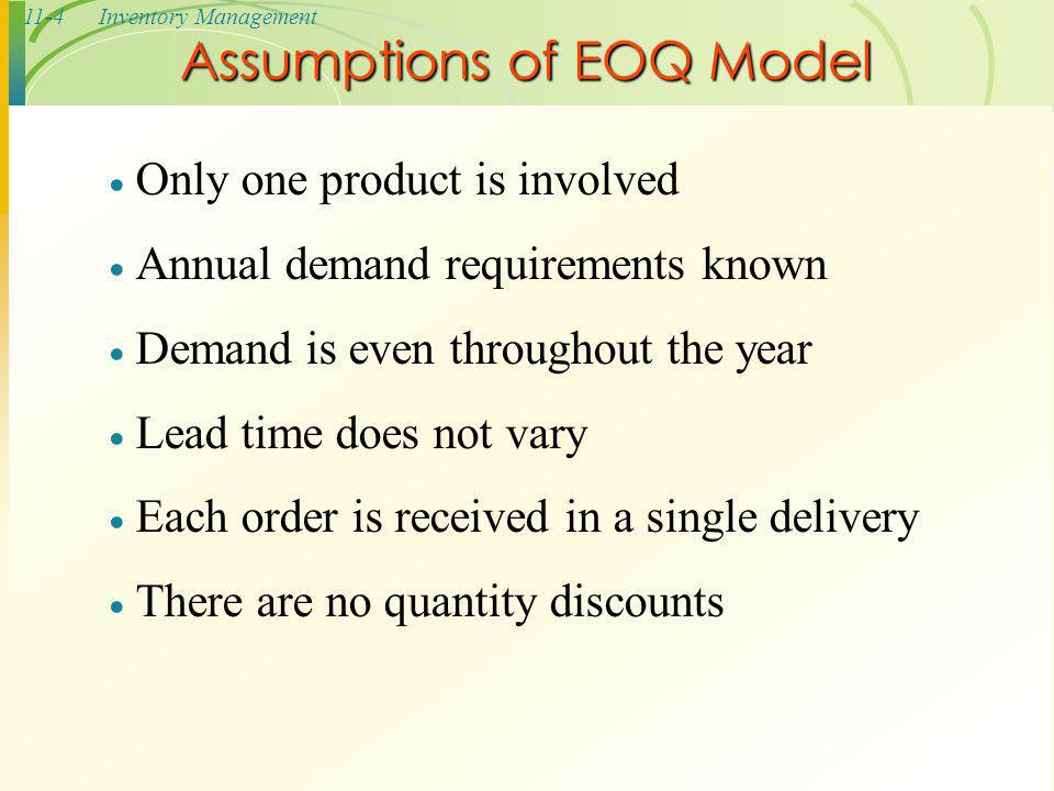 11-5Inventory Management The Inventory Cycle Figure 11.2 Profile of Inventory Level Over Time Quantity on hand Q Receive order Place order Receive order Place order Receive order Lead time Reorder point Usage rate Time