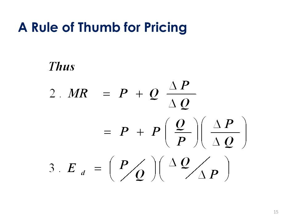 A Rule of Thumb for Pricing 15