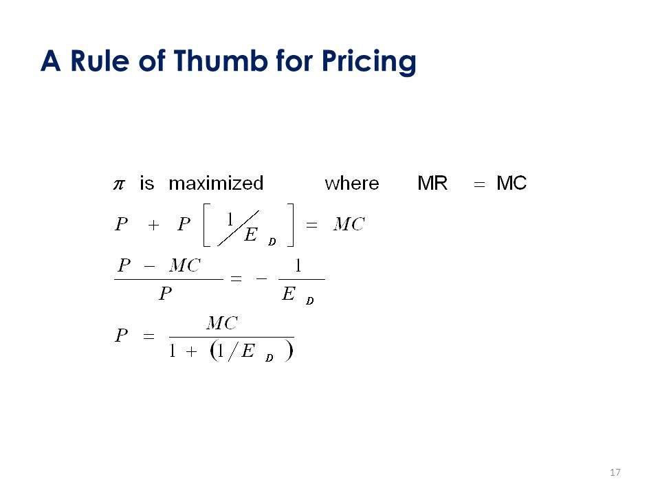 A Rule of Thumb for Pricing 17