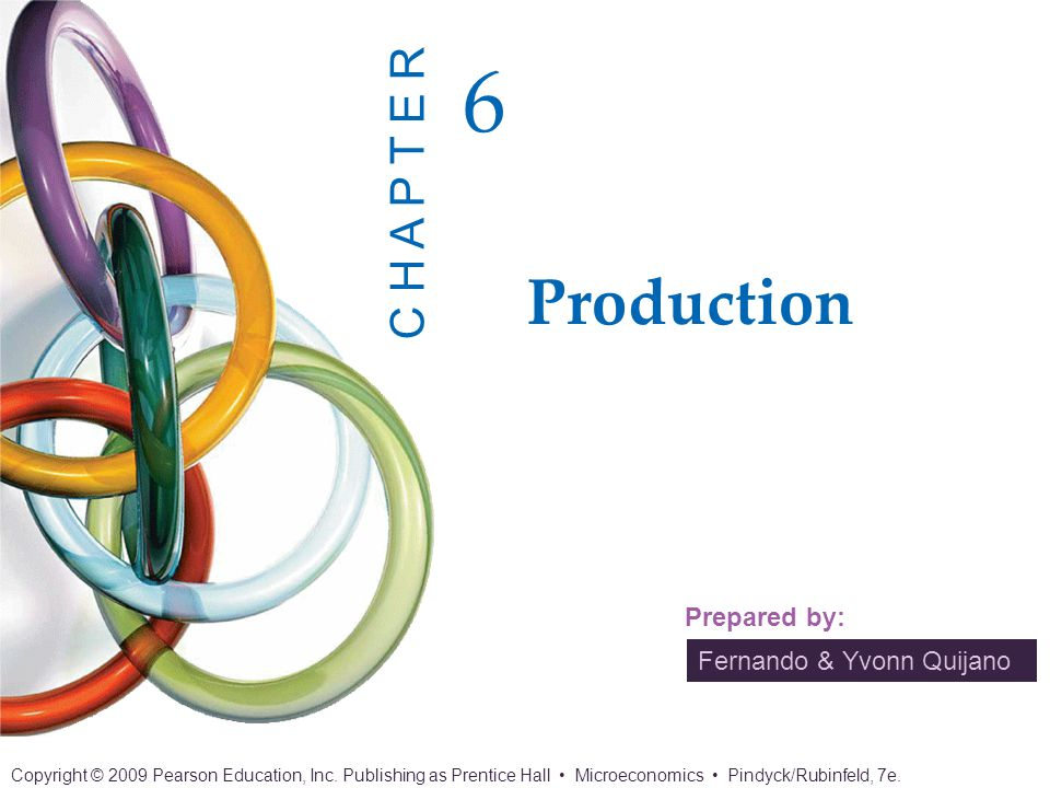 Chapter 6: Production 2 of 24 Copyright © 2009 Pearson Education, Inc.