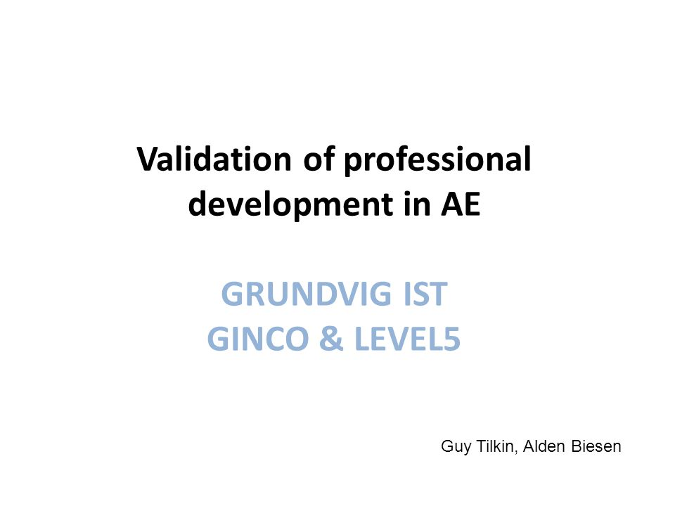 Validation of professional development in AE GRUNDVIG IST GINCO & LEVEL5 Guy Tilkin, Alden Biesen