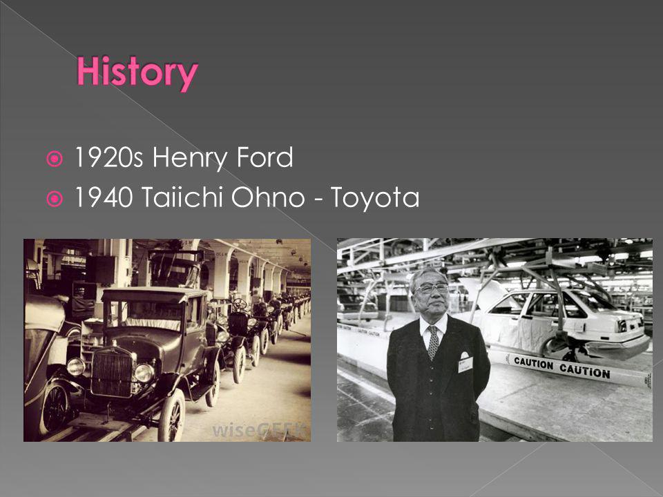  1920s Henry Ford  1940 Taiichi Ohno - Toyota