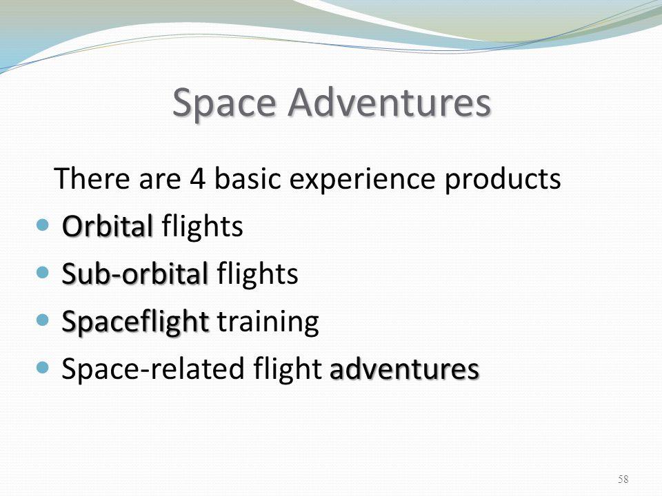 Space Adventures There are 4 basic experience products Orbital Orbital flights Sub-orbital Sub-orbital flights Spaceflight Spaceflight training advent