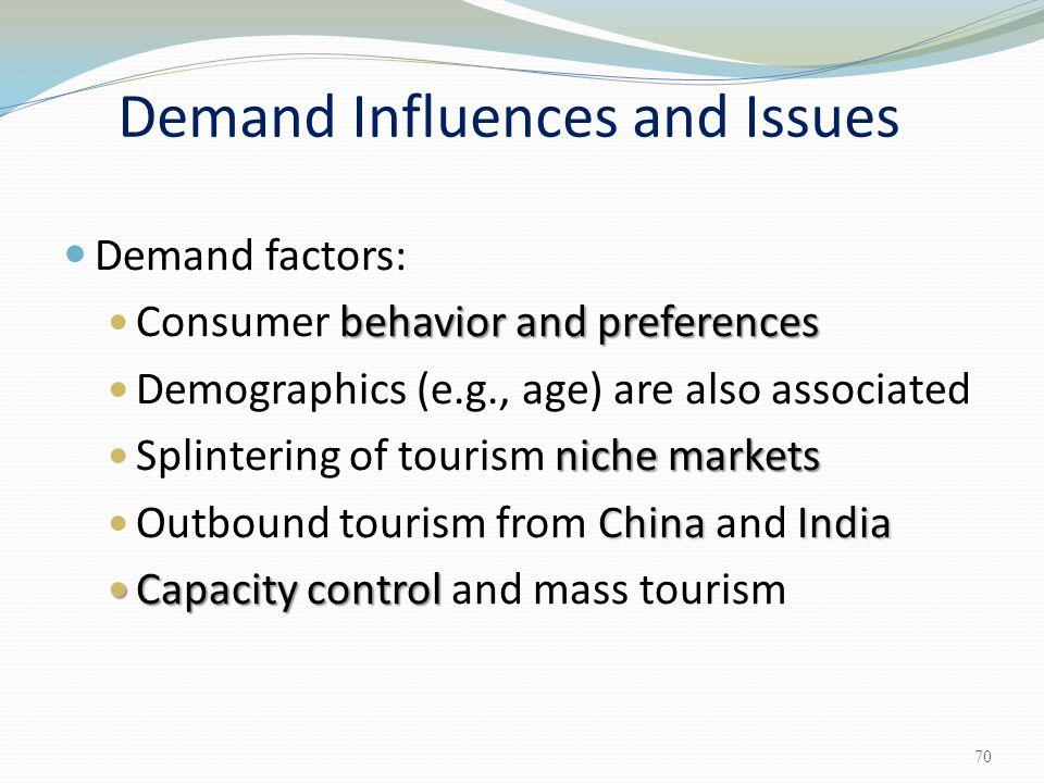 Demand factors: behavior and preferences Consumer behavior and preferences Demographics (e.g., age) are also associated niche markets Splintering of t
