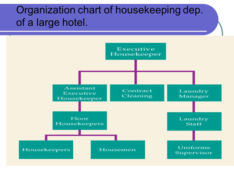 Organization chart of housekeeping dep. of a large hotel.