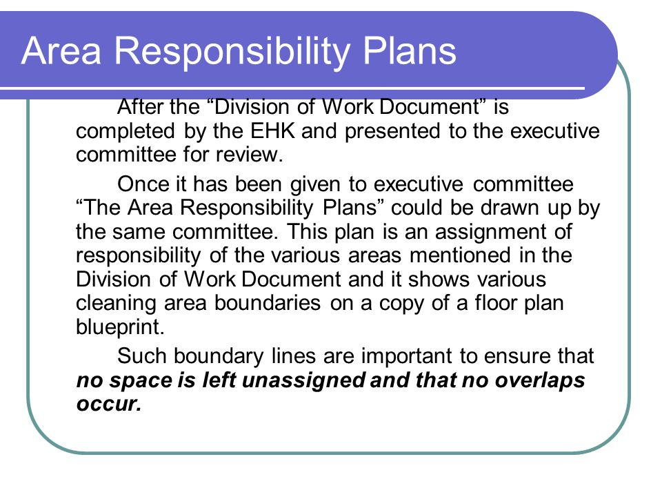 Area Responsibility Plans After the Division of Work Document is completed by the EHK and presented to the executive committee for review.