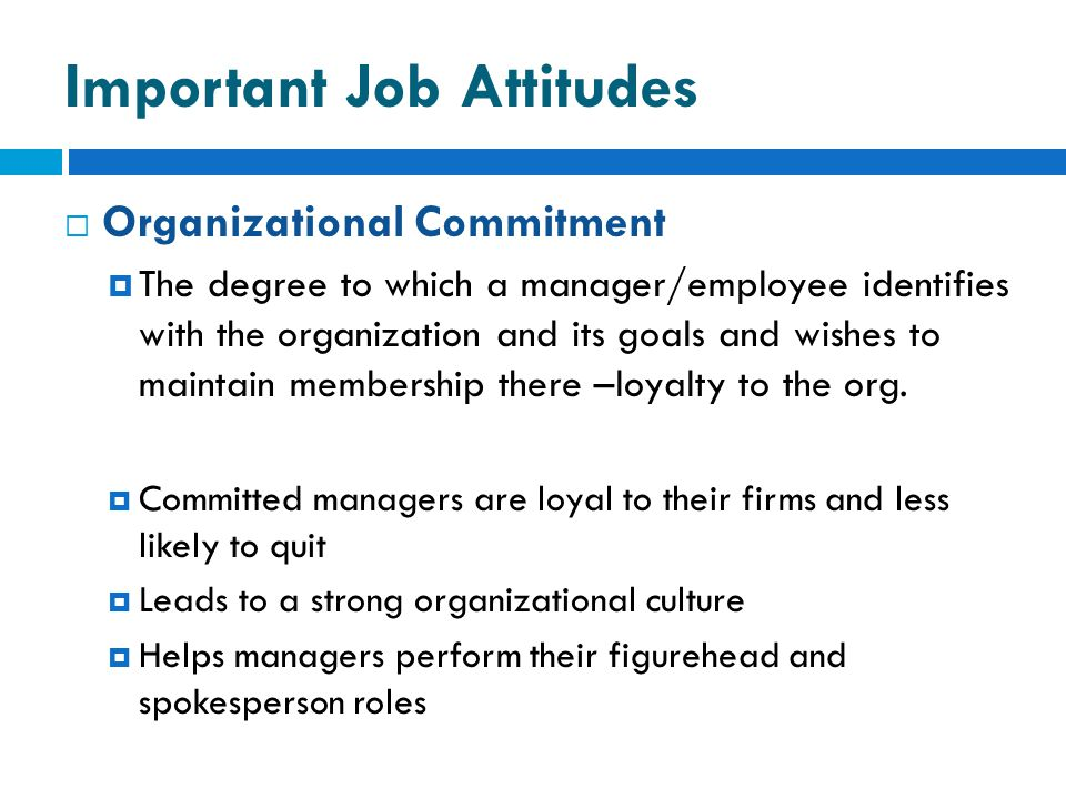 Important Job Attitudes  Organizational Commitment  The degree to which a manager/employee identifies with the organization and its goals and wishes to maintain membership there –loyalty to the org.