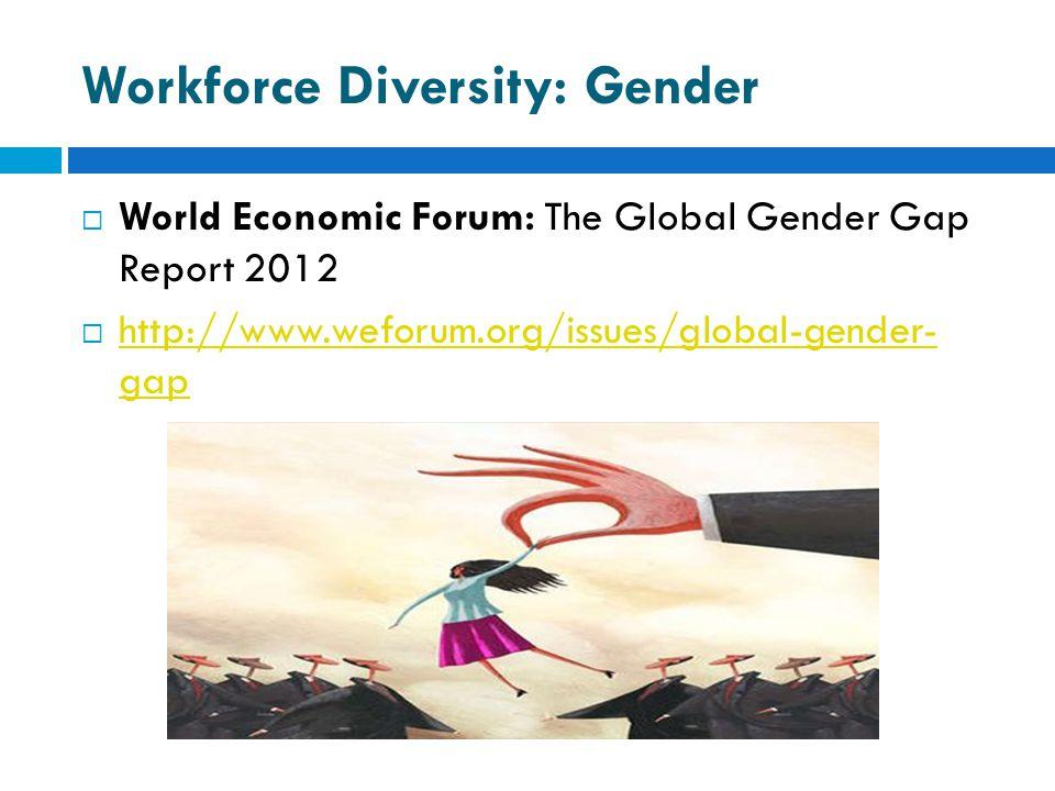 Workforce Diversity: Gender  World Economic Forum: The Global Gender Gap Report 2012  http://www.weforum.org/issues/global-gender- gap http://www.we