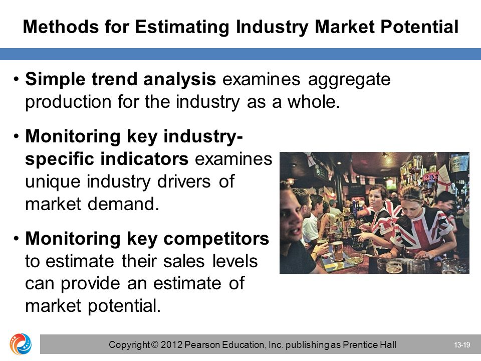 Methods for Estimating Industry Market Potential Simple trend analysis examines aggregate production for the industry as a whole.